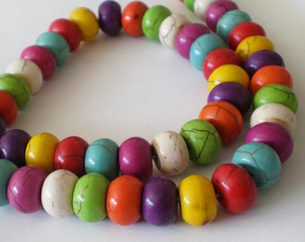 12x8mm Multicolor Turquoise rondelle stone beads -  Full Strand