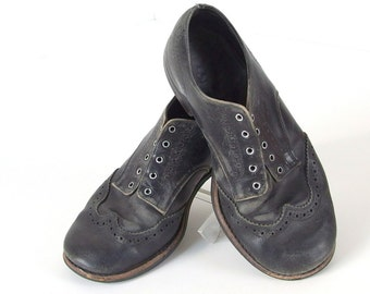 Vintage Boy Black Leather Shoes