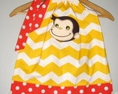 SALE Curious George dress yellow Chevron appliqued pillowcase dress sizes 3, 6,12, 18 months  2t, 3t, 4t, 5t,6,7,8,10