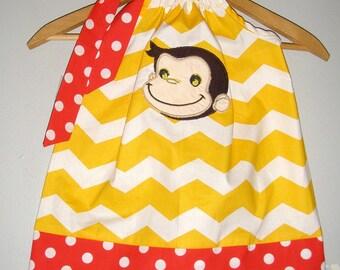 SALE Curious George dress yellow Chevron appliqued pillowcase dress sizes 3, 6,12, 18 months  2t, 3t, 4t, 5t,6,7,8,10