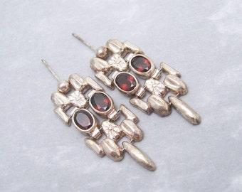 Long Sterling Garnet Earrings Vintage Artisan Jewelry E5934