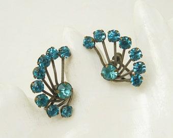 Blue Rhinestone Earrings Spray Vintage Jewelry E6547