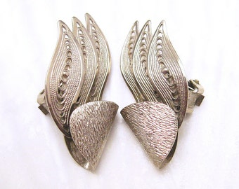 Vintage Earrings Filigree Jewelry Wings E5534