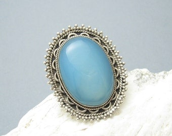 Huge Sterling Ring Statement Jewelry Etruscan Chalcedony Jewelry R3973