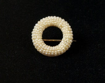 SALE WAS 250 Gorgeous Old Seed Pearl Circle Pin Brooch in 14K Gold rsb