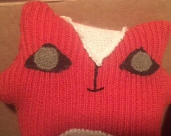 Medium Fox Stuffie made from Upcycled Sweaters
