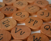 Wooden Coin Memory Matching Game - Alphabet - UPPER AND LOWERCASE