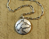 Sterling silver US Husky, necklace, pendant, sawed, soldered, rustic, charm, round, hammered, Univeristy of Washington, mascot
