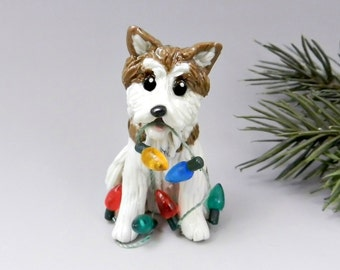 Akita Japanese Dog Christmas Ornament Figurine Lights Porcelain