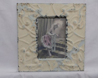 AUTHENTIC Tin Ceiling 5x7 Antique Creamy White Picture Frame Reclaimed Photo S2311-14