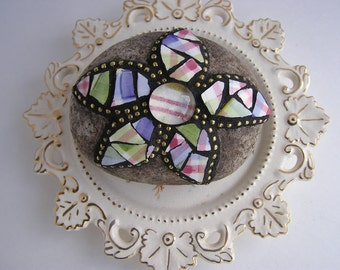 Mosaic Rock Broken China Floral Design