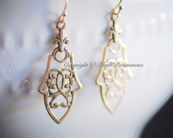 Vesta Earrings - Gold Filled Ear Wires - Brass Filigree Stampings - Free Domestic Shipping