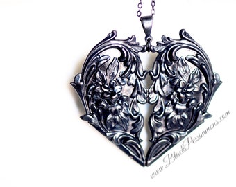 My Big Black Heart Necklace - The Most Important - Rusty Black Patina Floral Victorian Pierced Heart - Free Domestic Shipping