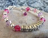 Custom Name Bracelet- Baby/Girl/ Child- Sterling Silver, Swarovski Crystal, Baptism, 1st Communion- Charm Included