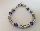 Mother's Day Jewelry Personalized Mothers Name Bracelet- Mothers Day, New Mom, Anniversary-Sterling Silver