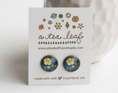 Oregon Grape Oregon State Flower Illustrated Post Stud Earrings