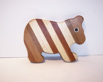 BEAR Cheese Cutting Board Handcrafted from Mixed Hardwoods