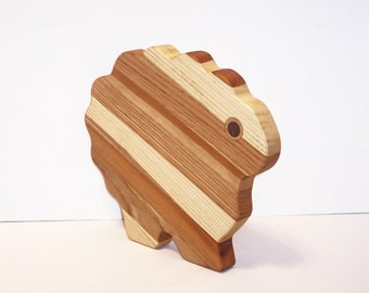 Sheep Cheese Cutting Board Handcrafted from Mixed Hardwoods