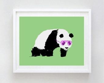 Panda With Sunglasses Art Print  -  Kids Art Prints, family, love, decor, nursery art print, bear family, bear hug