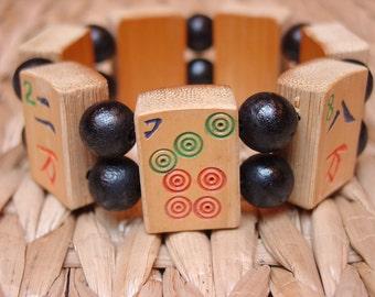 Mah Jong Bracelet / Mahjong / Asian / Jewish / Gift / Judaica / Jewelry / Chinese / Korean / Japanese / Handmade / Unusual / One of a Kind