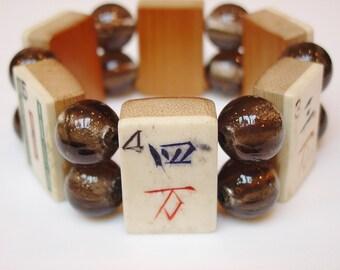 Vintage MahJong Bracelet / Bone and Bamboo / Taupe / Handmade / Jewish / Gift / Judaica / Asian / Jewelry / Culture / Chinese / Korean / FUN
