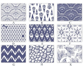 Indigo Navy Blue and White Graphic Fabrics for your Crib Baby Bedding Set