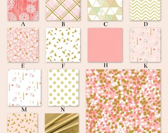 Reserved for Malika, Pink and Gold Metallic Nursery Crib Baby Bedding - Sparkled in Blush, First Payment