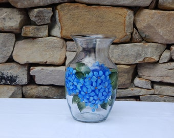 Hand Painted Glass Vase with Blue Hydrangeas