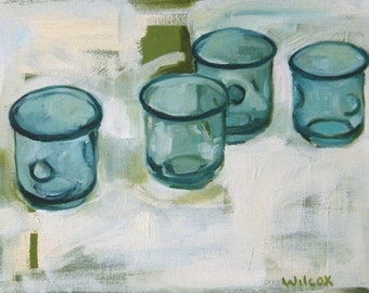 Kitchen Decor, Aqua Wall Decor, Aqua Glasses - original oil painting