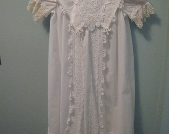 Vintage Long Baptism Christening Blessing Dress in Ivory lace.