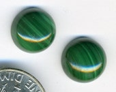 MALACHITE Genuine Natural African Stone A+ Grade PAIR 10mm Round Cabochons