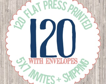 120 - 5x7 Flat Press Printed Cards with envelopes : PRINTING SERVICES