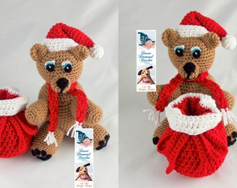 Crochet Pattern 098 - Holiday Santa Gift Bear
