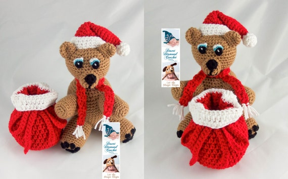 Crochet Pattern 098 - Holiday Santa Gift Bear