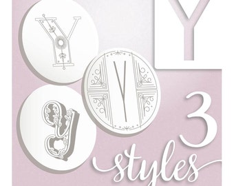 Modern Monograms Letter Y hand embroidery patterns in three styles Alphabet Letter embroidery designs by SeptemberHouse