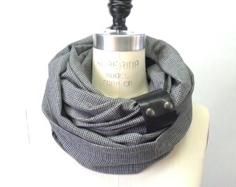 Chunky gray and charcoal plaid circular infinity unisex scarf , men's scarf , women scarf