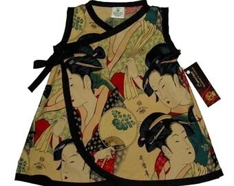 Geisha Kimono - Japanese Clothing - Baby Dress - Punk Baby Dress - Asian Baby Clothes - Baby Wrap - Girl Dress Size nb 6m 12m 18m
