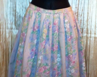 Perfectly pastel floral vintage skirt 1960's 1970's full flowers 60's 70's multicolor flower 80's 1980's spring summer  romantic pastels