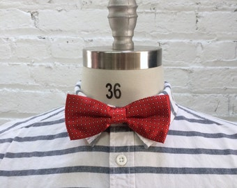 vintage red bow tie with white polka dots