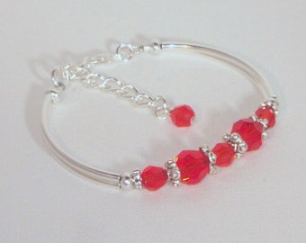 Swarovski Crystal and Silver Bracelet - Shown in Hyacinth - Available in Any Color