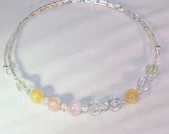 Gemstone and Swarovski Crystal Necklace - Ice Flake Quartz