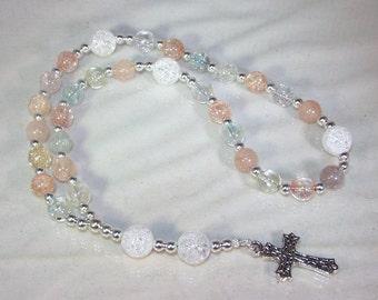Gemstone Anglican Rosary - Iceflake Quartz