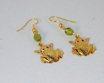 Gold Frog and Peridot Crystal Earrings