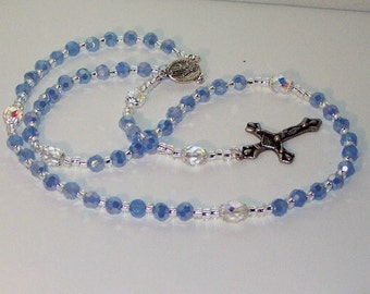 Czech Fire Polished Crystal & Silver Rosary - Jewish, Catholic or Anglican, Made to Order - Any Colors