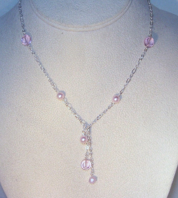 Pearl & Crystal Jewelry - Pink Crystal and Pearl Necklace - Prom, Bridesmaid, Jr Bridesmaid, Graduation, Easter