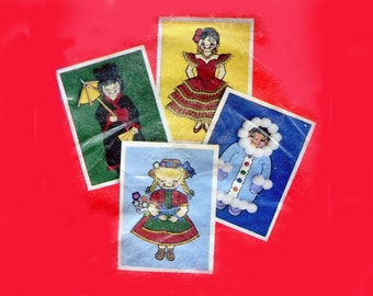 Vintage Note Card Kit Dolls Around the World Add On Art Cards Blank Note Cards Embellished Pictures Cute Crafts Paper Stationary
