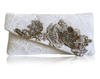 Lace, sequin and diamante applique Alexandra ivory bridal clutch purse