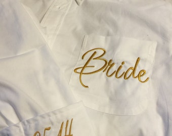 Monogrammed Bridal Party Oversized Shirts - Super Cute Bridesmaid Gift Set of 2
