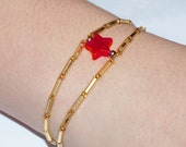 The Every Day Wonder Woman Bracelet Cuff... Superpower your way through your day... Gold with RED or PINK Star