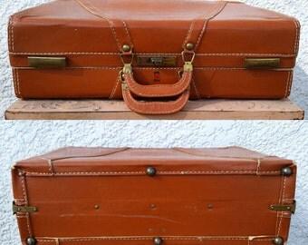 "Gorgeous Vintage Pecan Brown Suitcase, ""NeverBreak Luggage"" with original KEY, Super Clean Interior"